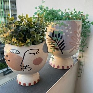 Pot plant set with artificial plants included